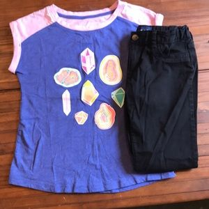 Euc girls cat and jack crystals tee & pants outfit